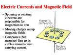 electric currents and magnetic field