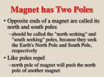 magnet has two poles