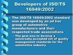 developers of iso ts 16949 2002