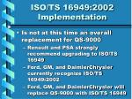 iso ts 16949 2002 implementation