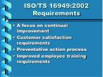 iso ts 16949 2002 requirements