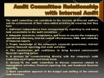 audit committee relationship with internal audit