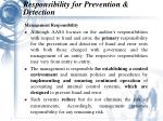 responsibility for prevention detection