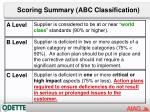 scoring summary abc classification