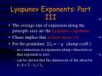 lyapunov exponents part iii
