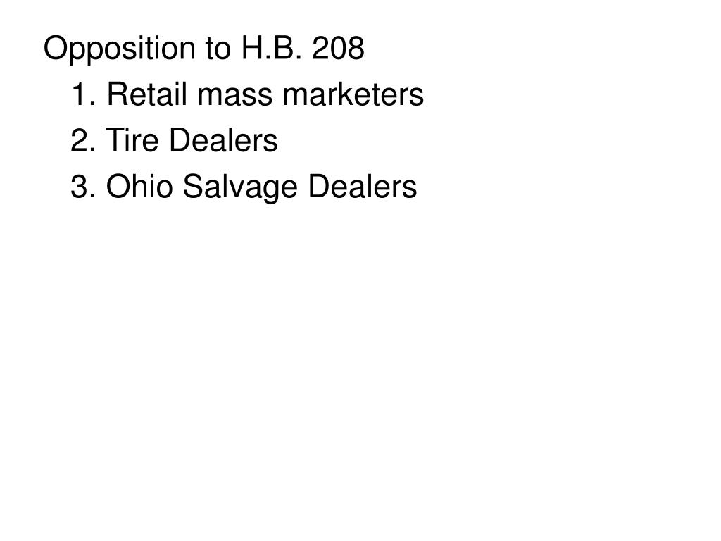 Opposition to H.B. 208