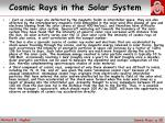 cosmic rays in the solar system