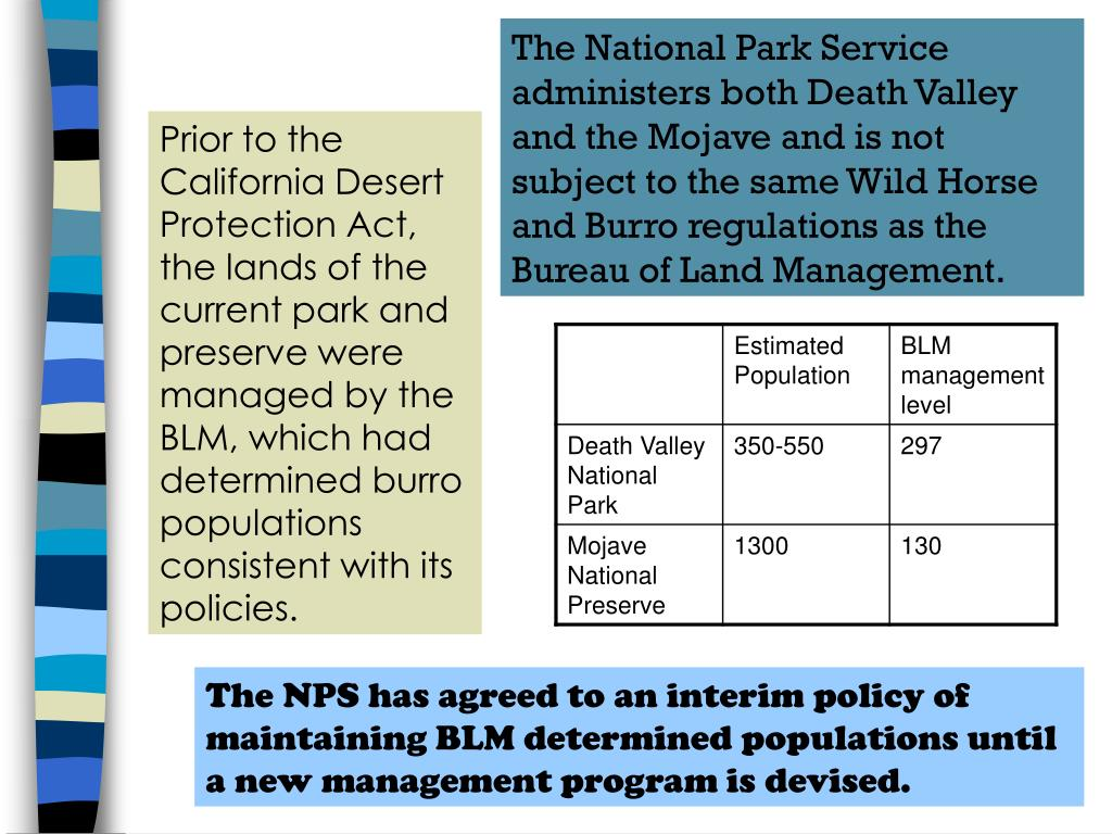 The National Park Service administers both Death Valley and the Mojave and is not subject to the same Wild Horse and Burro regulations as the Bureau of Land Management.