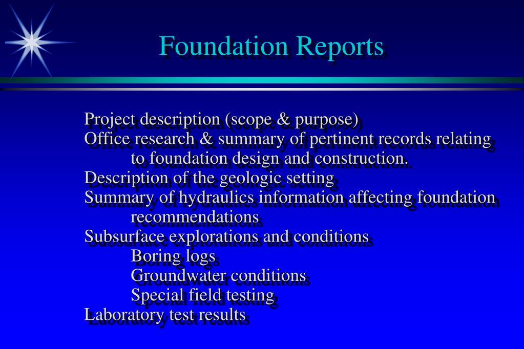 Foundation Reports
