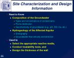 site characterization and design information