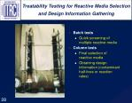 treatability testing for reactive media selection and design information gathering