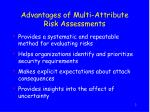 advantages of multi attribute risk assessments