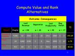 compute value and rank alternatives