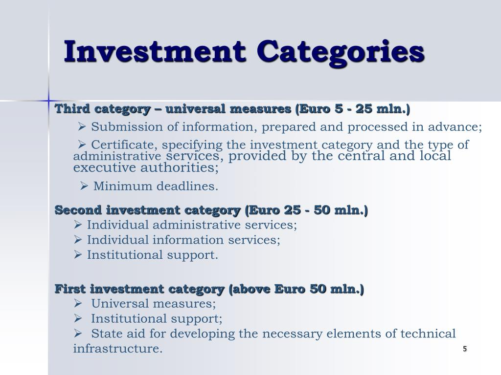 Investment Categories