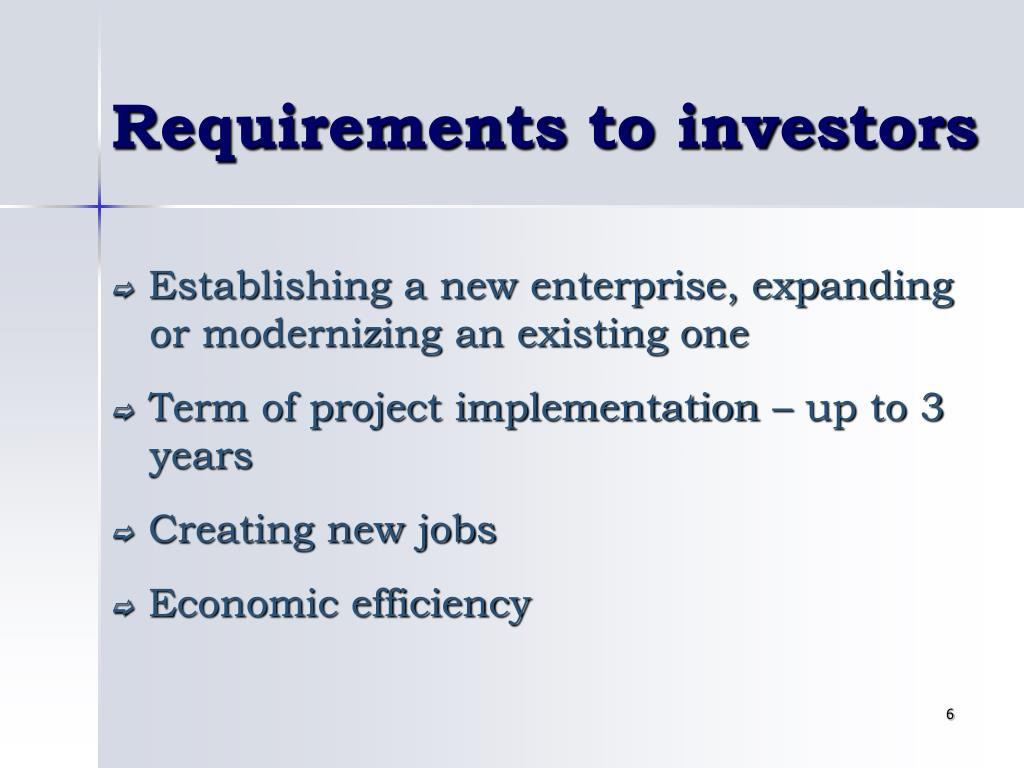 Requirements to investors