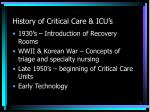 history of critical care icu s