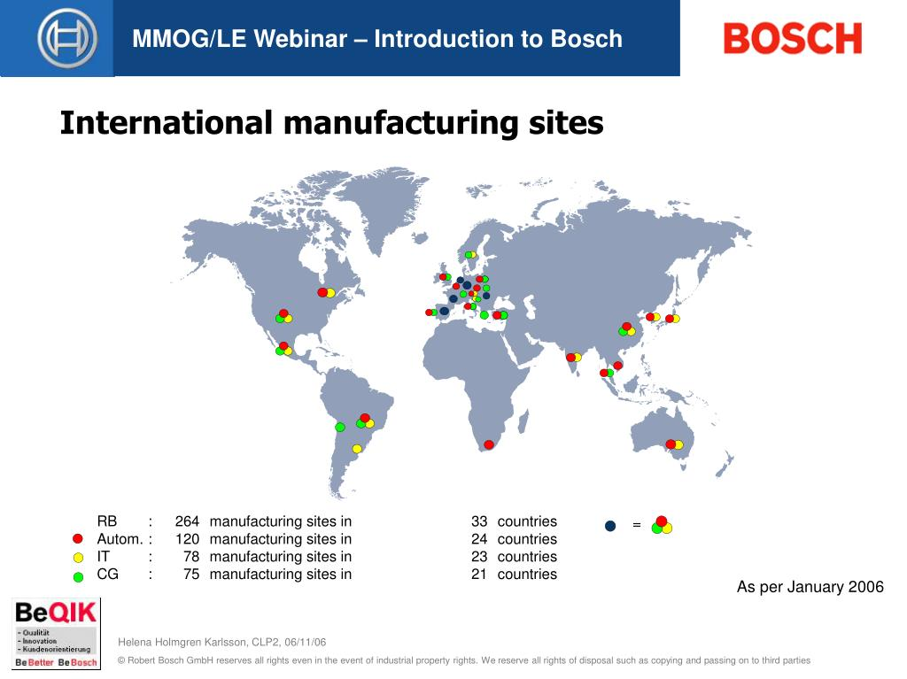 International manufacturing sites