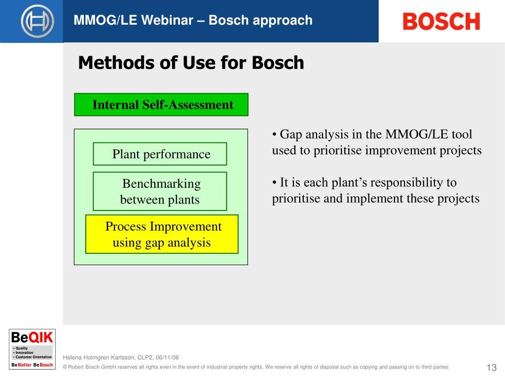 MMOG/LE Webinar – Bosch approach