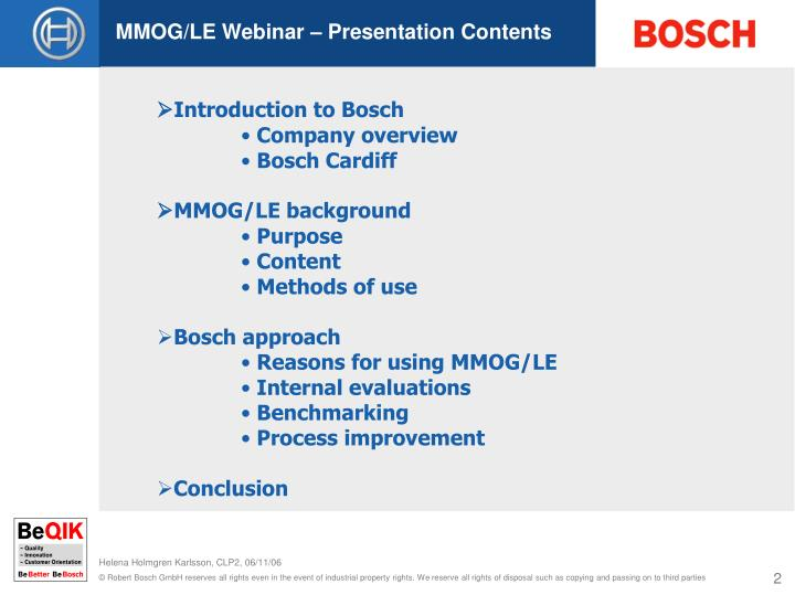 MMOG/LE Webinar – Presentation Contents