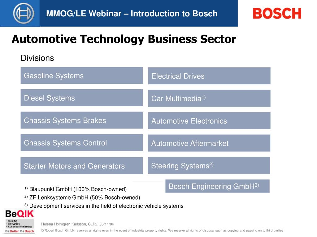 MMOG/LE Webinar – Introduction to Bosch