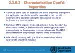 2 3 s 3 characterisation cont d impurities