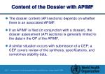 content of the dossier with apimf
