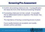 screening pre assessment
