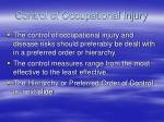 control of occupational injury