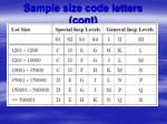 sample size code letters cont