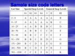 sample size code letters