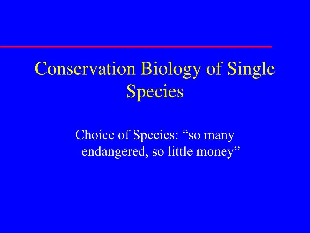conservation biology of single species l.