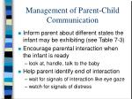 management of parent child communication