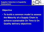 supplier selection capability assessment