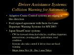 driver assistance systems collision warning for automotive