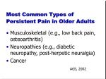 most common types of persistent pain in older adults