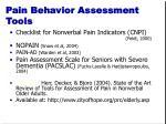 pain behavior assessment tools