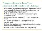prioritizing reforms long term economic and social reform challenges