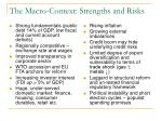 the macro context strengths and risks