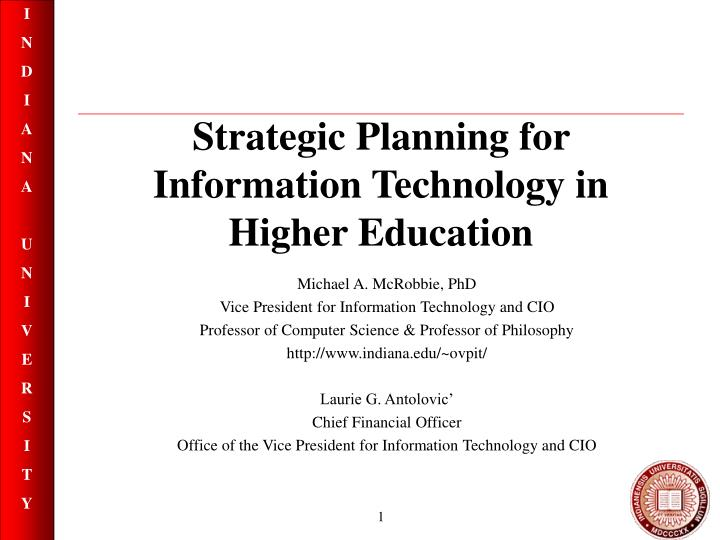 strategic planning for information technology in higher education n.