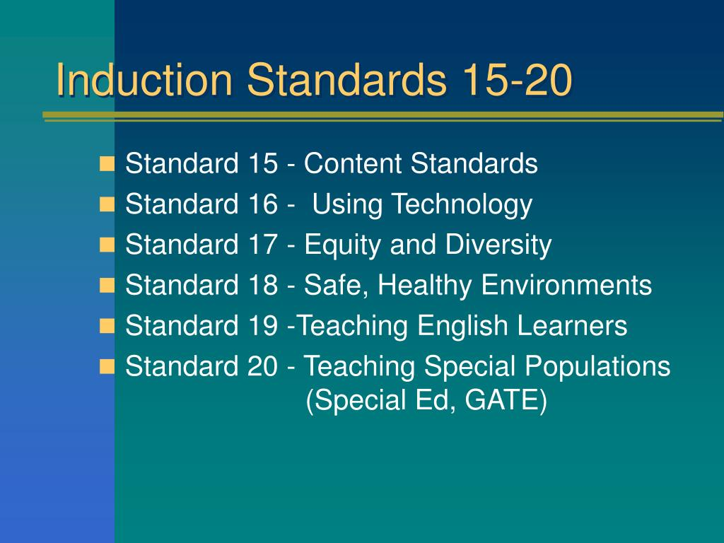 Induction Standards 15-20