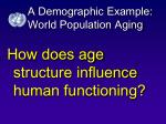a demographic example world population aging