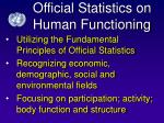 official statistics on human functioning
