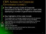 cbn actions on corporate governance contd