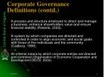 corporate governance definitions contd
