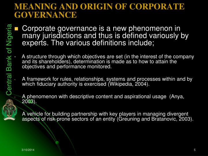 corporate governance in nigeria banks The code of best practices on corporate governance in nigeria (2003 sec code) issued by the securities and exchange commission in 2003 greatly impacted the corporate governance scene in nigeria in the first place, it was the first corporate governance code to be issued by any regulator in nigeria secondly, it was applicable to all public.