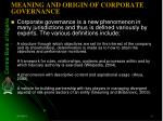 meaning and origin of corporate governance
