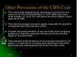 other provisions of the cbn code