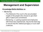 management and supervision48