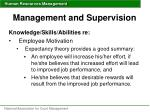 management and supervision51