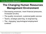 the changing human resources management environment